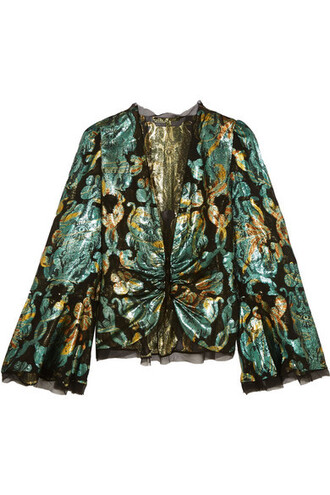 blouse metallic jacquard silk top