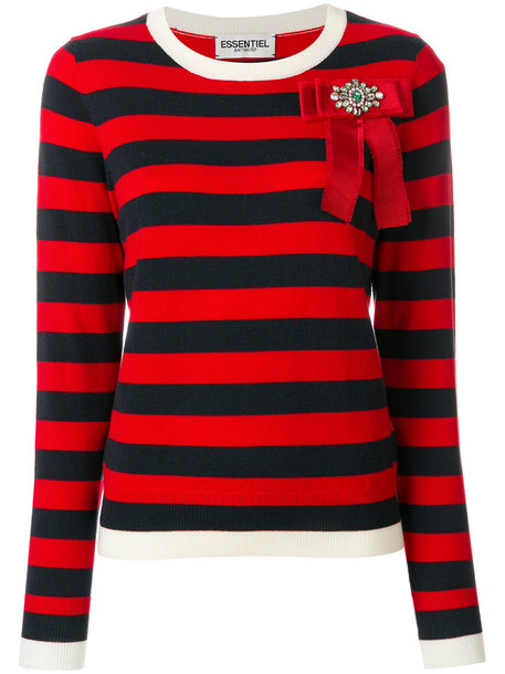 sweater striped sweater bow women embellished wool red