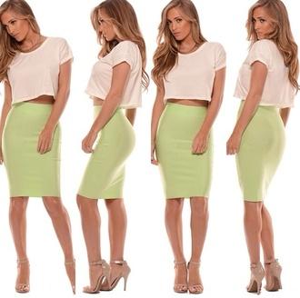 skirt green mint green skirt bodycon high waisted skirt