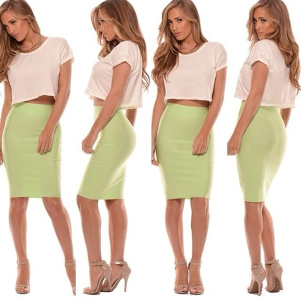 Skirt: green, mint green skirt, bodycon, high waisted skirt ...