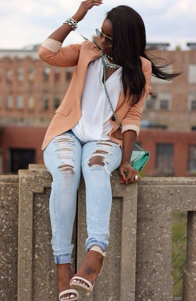 Jeans Peach Ripped Jeans Spring Outfits Light Blue