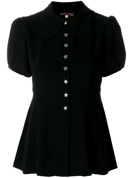 Alexa Chung shirt peplum shirt women black top