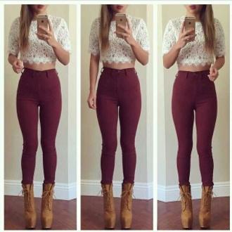 jeans skinny high waisted maroon