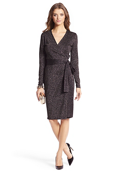 Metallic Knit Wrap Dress