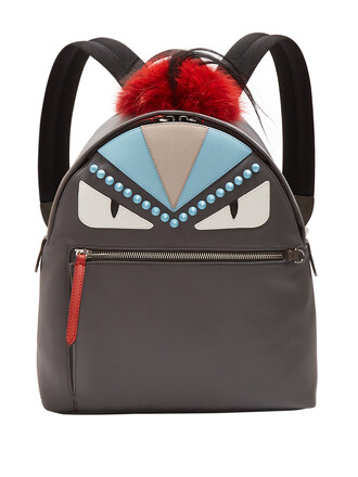 fur bag backpack grey