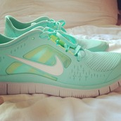 shoes,nike,blue,green,sneakers,sports shoes,workout,turquoise,mint,light blue,nike running shoes,tiffany blue,nike free run