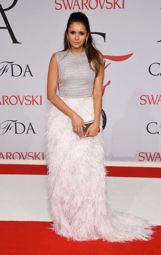 skirt cfda 2015 top gown feathers maxi skirt nina dobrev prom dress wedding dress