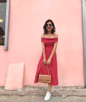 dress,midi dress,sunglasses,shoes,sneakers,white sneakers,off the shoulder