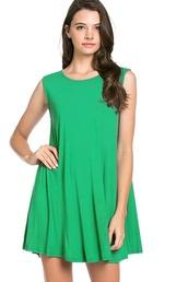 dress,kelly green sleeveless jersey shift