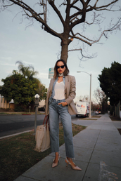 song of style,blogger,sunglasses,shoes,bag,jeans,jacket,t-shirt,blazer