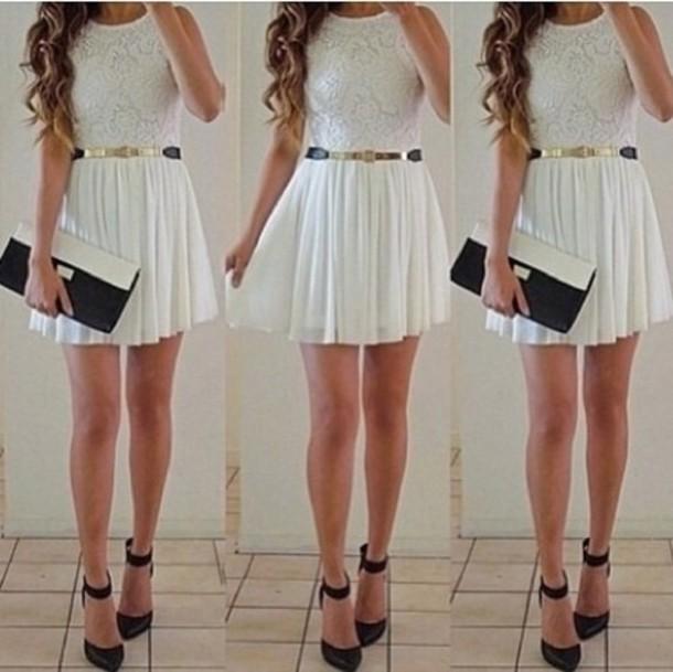 Dress: white dress, white, white lace dress, black shoes, back and white bag, pattern, girl ...