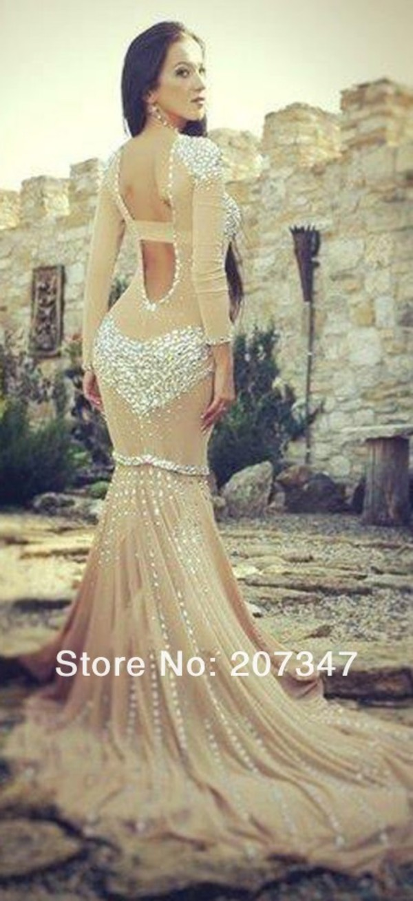 dress rhinestones dress mermaid prom dress long sleeve dress open back dresses
