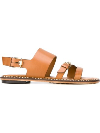 metal women sandals leather brown shoes