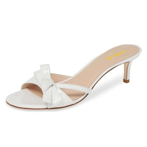 White Patent Leather Bow Kitten Heels Mule Sandals