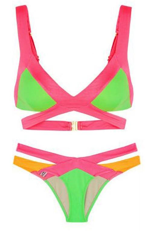 Colour Block Bikini Set - Swimsuits - Clothing