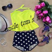 swimwear,high waisted bikini,high waist bathing suit,vintage bikini,cute bikini,yellow bikini,vintage swimsuit,retro swimwear,high waist swimwear
