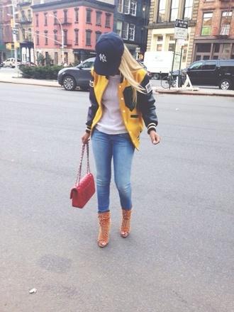 jeans boots varsity jacket handbag jacket bag peep toe boots