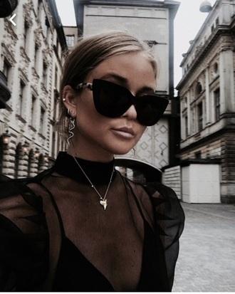 sunglasses black cat eye