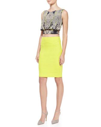 Print layered party crop top & body conscious contour skirt