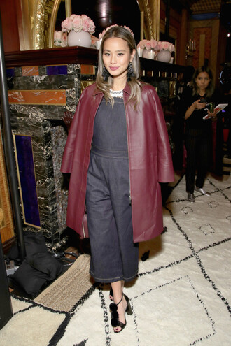 jumpsuit jamie chung blogger coat leather coat ny fashion week 2017 fashion week 2017 sandals