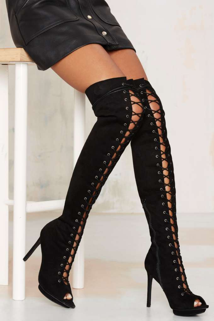 678862331dd Nasty Gal Clarissa Over-the-Knee Lace-Up Boot
