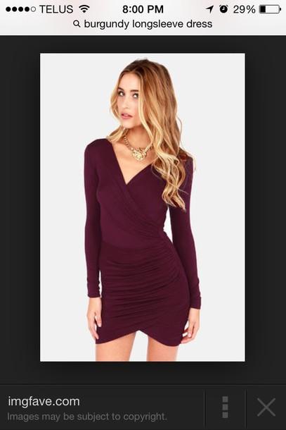 burgundy vneck long sleeved dressss dress little black dress