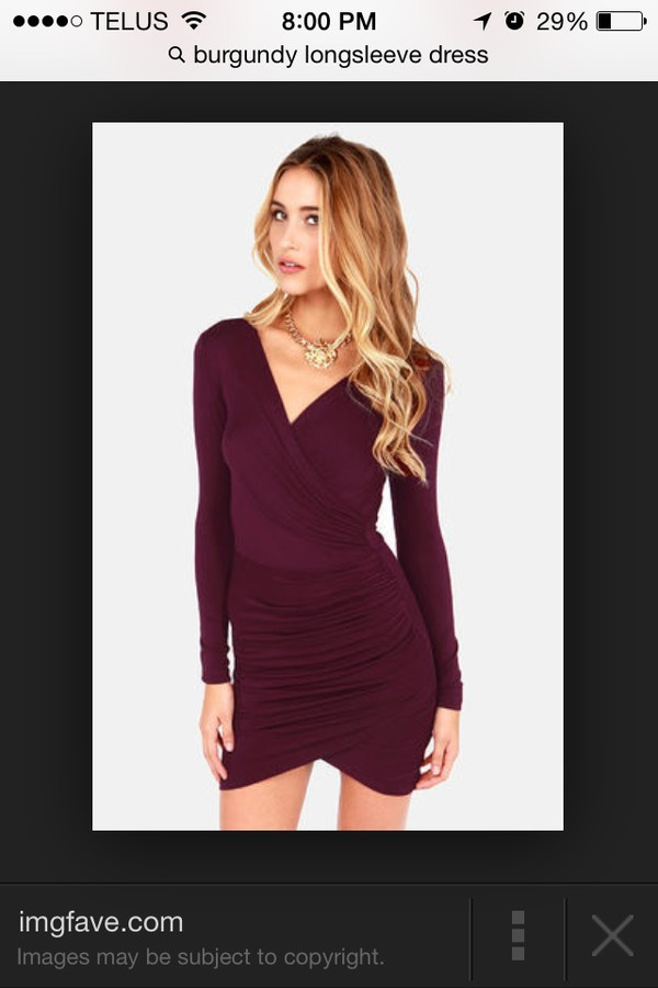burgundy vneck long sleeved dressss dress little black dress