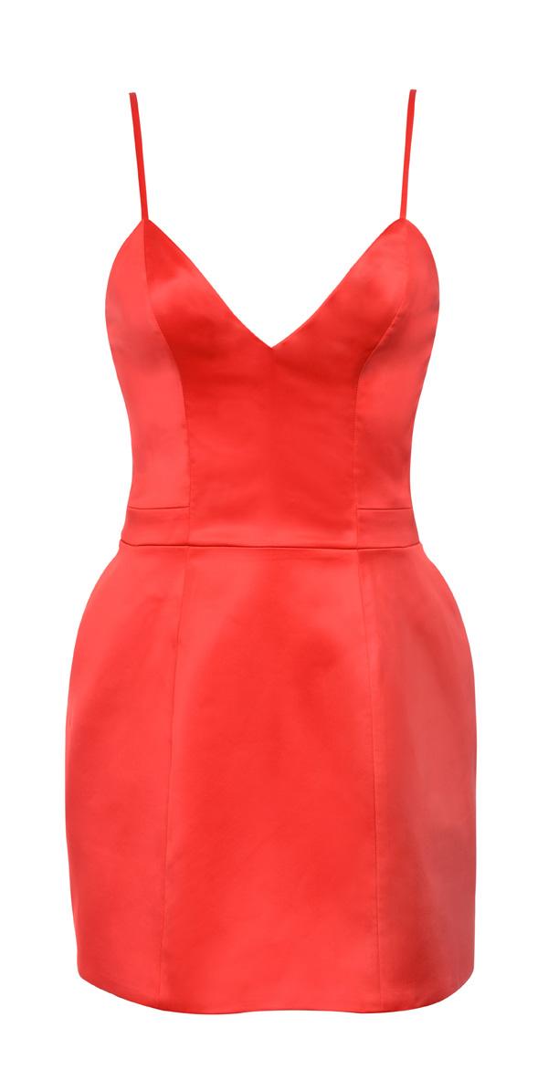 'Luigia' Red Satin Bralet Tulip Dress