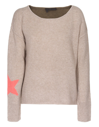sweater 360 sweater spirit oatmeal salmon cashmere sweater with star motifs star salmon