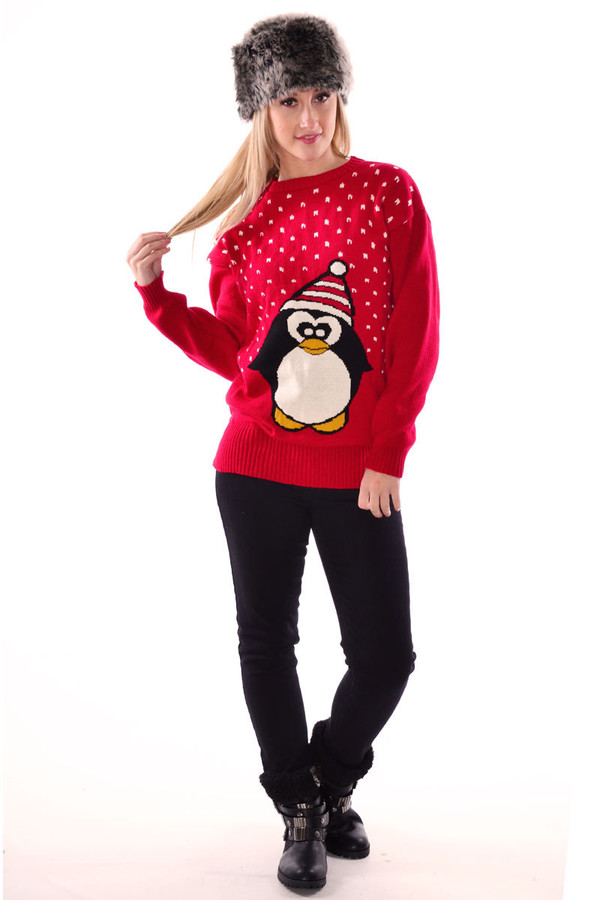 sweater penguin penguin knitted sweater jumper full sleeves