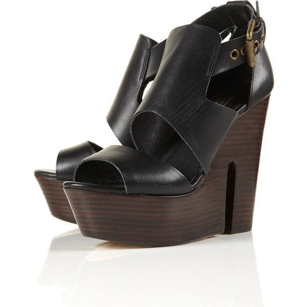 LISBON Buckle Wood Heel Sandals