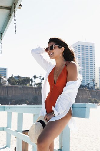 swimwear sunglasses tumblr one piece swimsuit v neck shirt white shirt