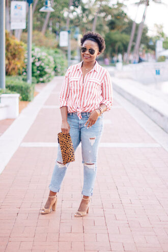 pinksole blogger dress sunglasses jewels shirt jeans shoes bag clutch sandals high heel sandals striped shirt