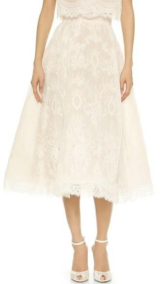 skirt tea nude white silk