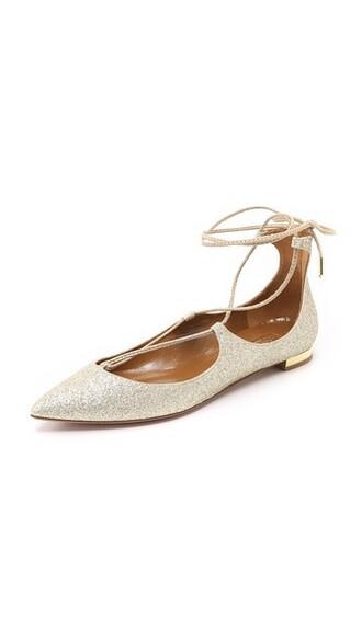 light flats gold shoes