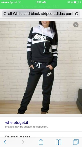 jumpsuit black and white nike sweater nike sweatpants
