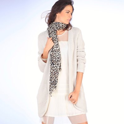 Gilet long grosse maille fantaisie manches longues