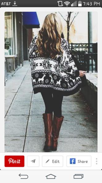 cardigan moose sweater black sweater white sweater