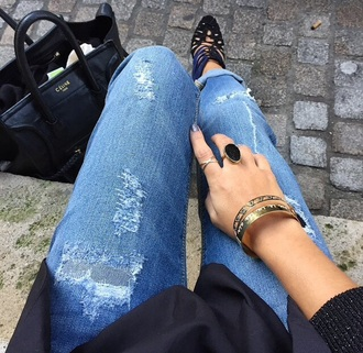 high heels shoes black girly jeans bag denim gold black bags jewels gold jewelry bracelets ring rings gold rings gold bracelets céline bag black bag