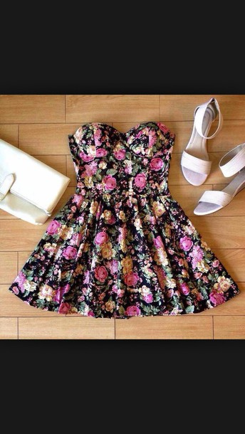 dress strapless dress floral shoes