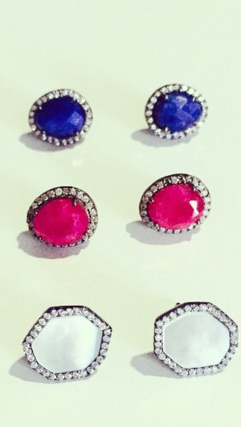 jewels earring stone diamond sapphire pink blue white green jewelry earring rough stones sparkly gloves jacket hat shoes skirt sweater