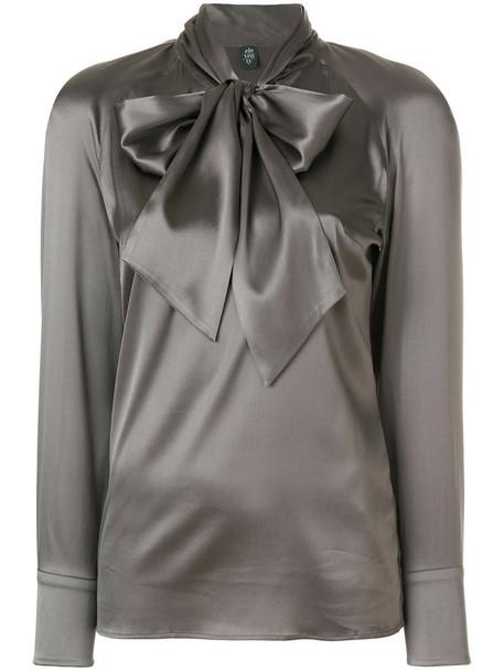 Eleventy blouse bow women spandex silk grey top