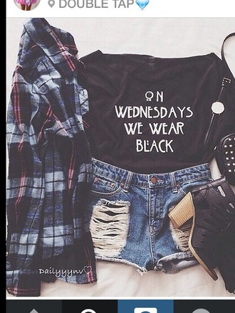 t-shirt black bikini white top american horror story shirt coven on wednesdays we wear black shorts jacket ripped shorts instagram shoes bag mean girls black t-shirt black shirt black crop top tank top black on wednesdays we we wear black top cropped ripped jeans chess high heels grunge girl blouse