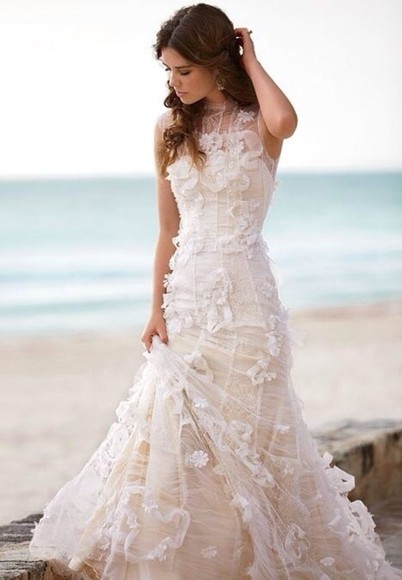 dress wedding dress lace wedding dresses cream dress beach wedding dress
