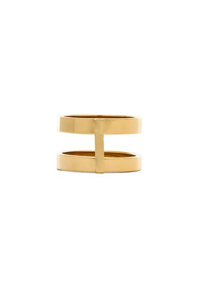 Wanderlust + Co Double Bar Ring in gold / metallic