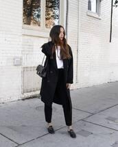 coat,black coat,wool coat,long coat,black pants,high waisted pants,mules,white blouse,shoulder bag