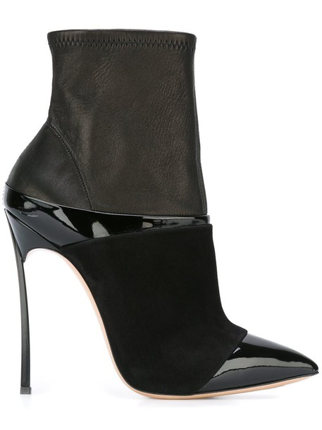 women texture boots leather suede black shoes