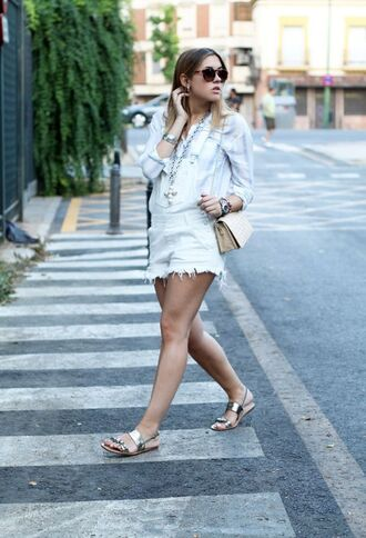 shoes sandals flat sandals silver sandals silver low heel sandals overalls denim overalls white overalls shirt striped shirt sunglasses bag nude bag summer outfits jeweled sandals