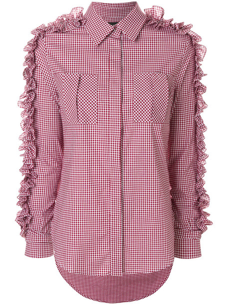 shirt women spandex embellished cotton gingham red top