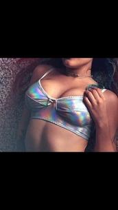 underwear,bra,holographic,silver,holographic lingerie,lingerie,silver lingerie,silver bra,holographic bra,bow,vaporwave,cyberpunk,futuristic,tumblr,tumblr aesthetic,aesthetic